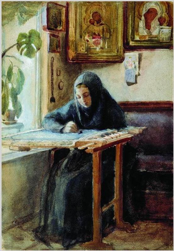 1880-е Н.В. Неврев. За вышиванием. Новокузнецкий художественный музей..jpg