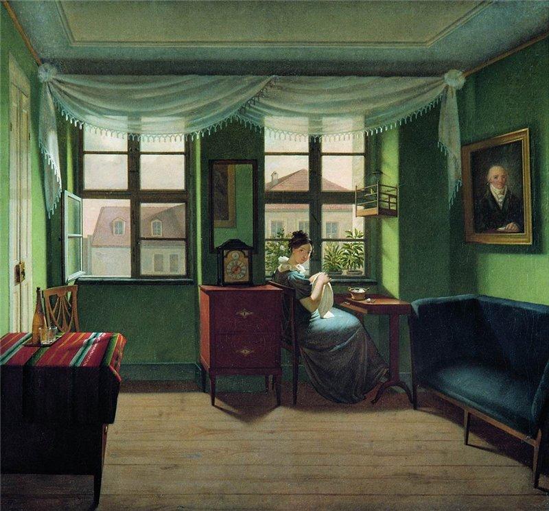 19 vek Федор Петрович Толстой (1783-1873) В комнате за шитьём. Государственная Третьяковская галерея.jpg