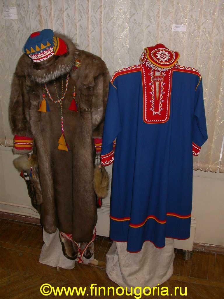 1  Традиционная саамская зимняя и летняя одежда печок (слева), юпа, головные уборы, меховые руковицы, пимы.jpg