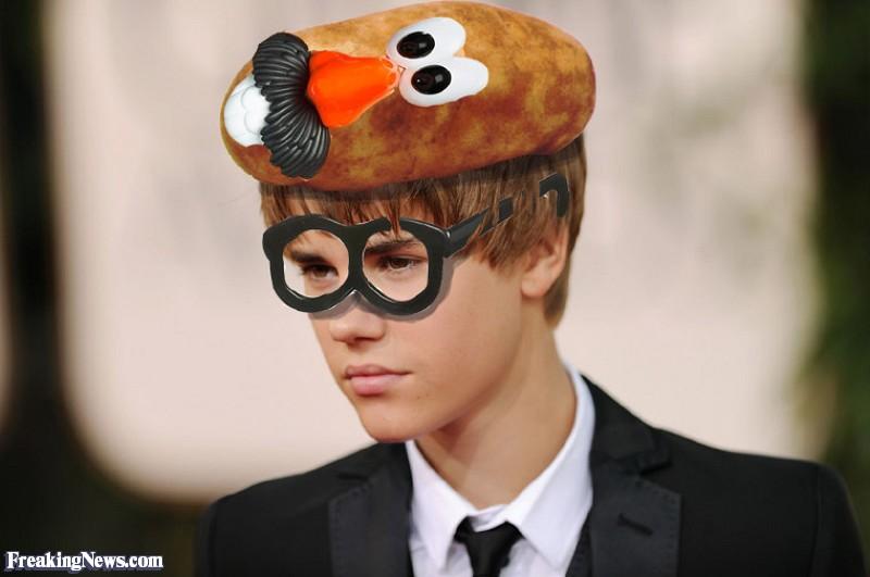 Justin Bieber Wearing a Mr Potato Head Hat.jpg