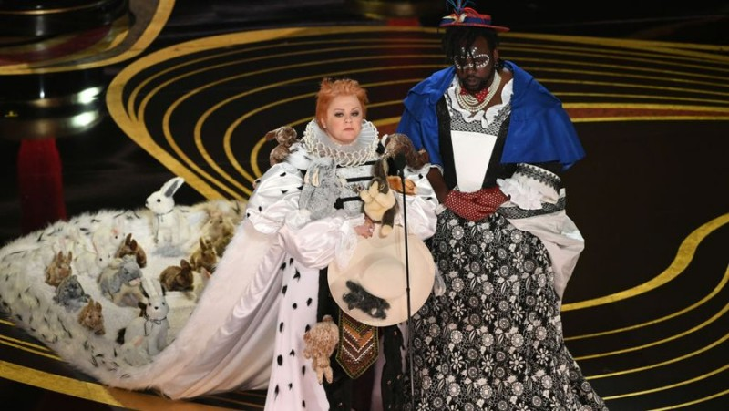 Melissa McCarthy and Brian Tyree Henry speak onstage during the 91st Annual Academy Awards SOURCE Kevin WinterGetty.jpg