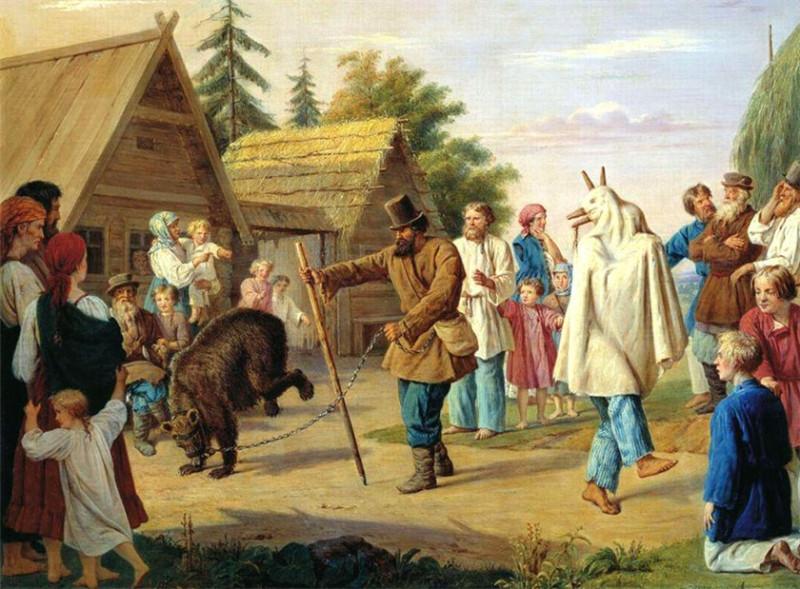 1857  Франц Николаевич Рисс - Скоморохи в деревне. 1857.jpg