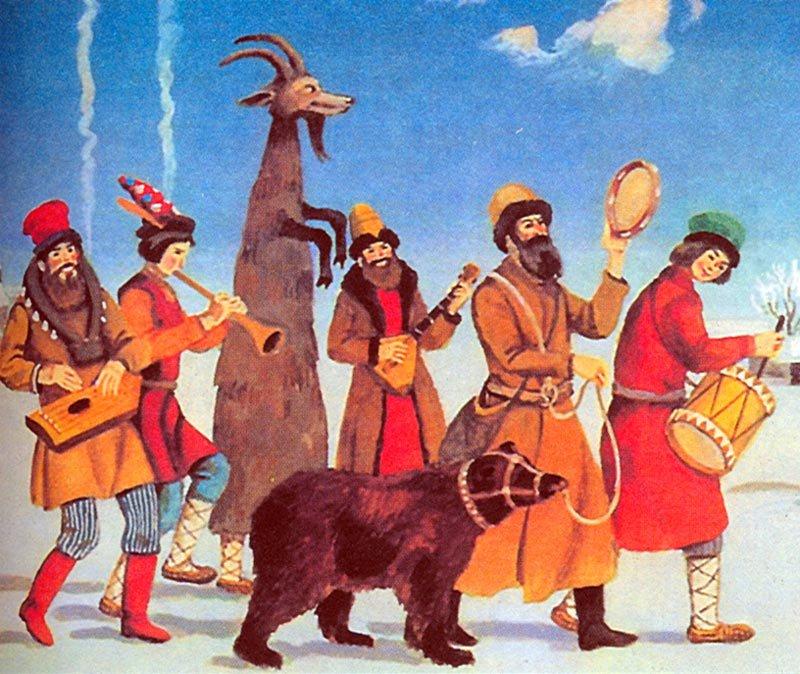 1989  В. И. Семенов - Скоморохи с медведем.jpg