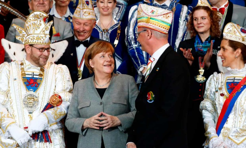 Angela Merkel is not known to dress up for carnival. Photograph Odd Andersen AFP Getty Images.jpg