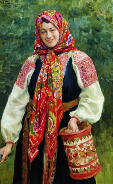 _1  Иван Семёнович Куликов (Россия, 1875 - 1941) «Девушка с туесом» 1912.jpg