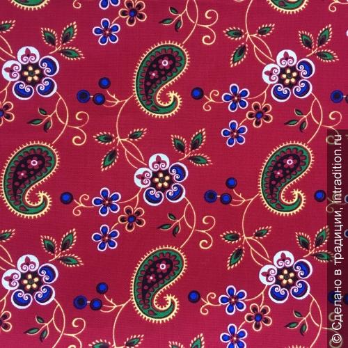 modern Ситец барановский красный с огурцами и цветами.jpg