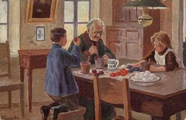1917 before Гермашев (Бубело) М.М. (1867-1930)  Приготовление к Пасхе  Открытка Изд. Ленц и Рудольф, Рига .jpg