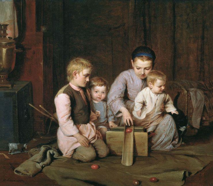 1855 Н. А. Кошелев Дети, катающие пасхальные яйца. Государственный Русский музей, Санкт-Петербург .jpg