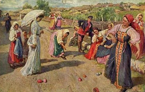 1917 РАНЕЕ  Сычков Федот Васильевич  Катание яиц  2813.jpg