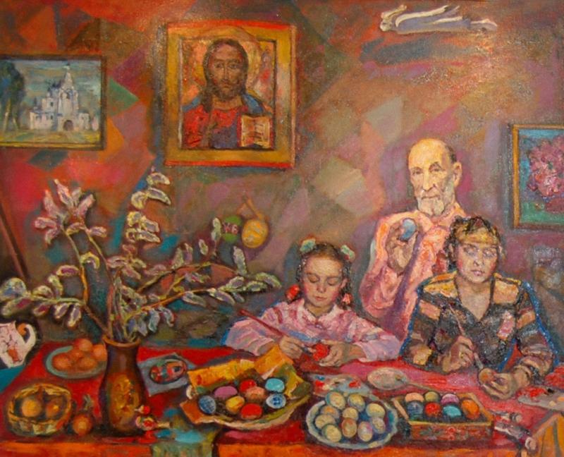 2008   Корбаков Владимир Николаевич (1922-2013) Крашение пасхальных яиц. 2008 г. 2b95T.jpg