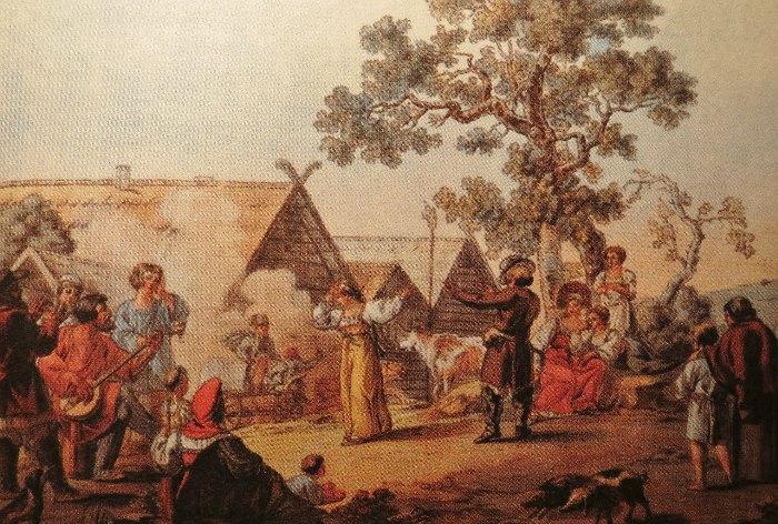 И. Кокере. Русская пляска. Гравюра с рисунка Е. М. Корнеева, 18123.jpg