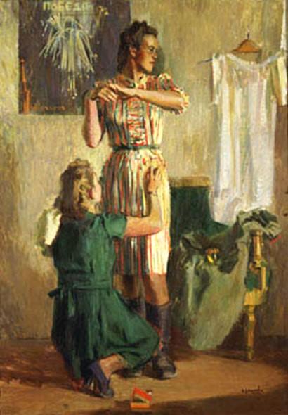 1947  В. Васильев Демобилизованная. 1947 г..jpg