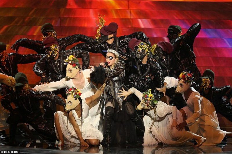 1  Madonna performs during a guest appearance at the Grand Final of the 2019 Eurovision Song Contest in Tel Aviv, Israel. Viewers slammed her as 'ton…