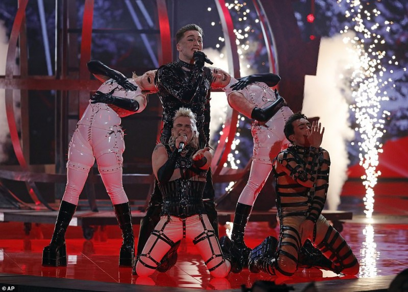 3  Iceland's Eurovision contestants Hatari perform the song 'Hatrio mun sigra' during the 2019 Eurovision Song Contest grand final in Tel Aviv744.jpg