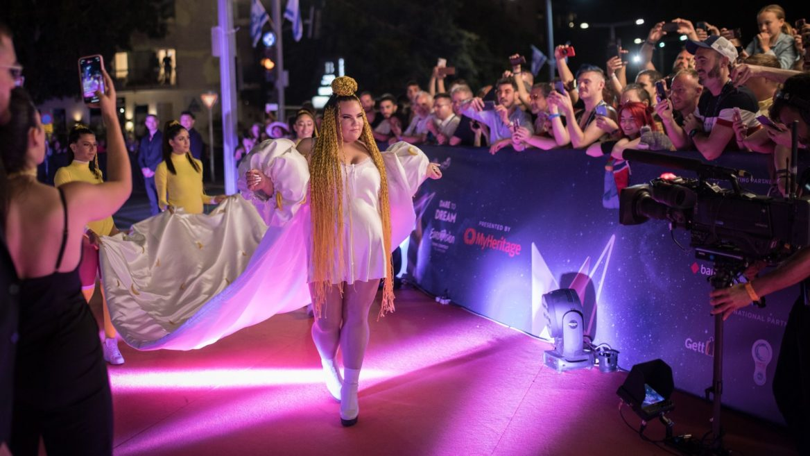 6  Eurovision 2018 winner Netta Barzilai arrives at the opening event of the 2019 Eurovision Song Contest in Tel Aviv on May 12, 2019. Photo by Hadas…