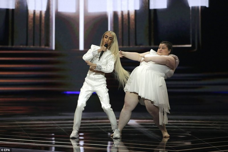 5  Contestant Bilal Hassani (left) of France performs 'Roi' during the Grand Final of the 64th annual Eurovision Song Contest559.jpg