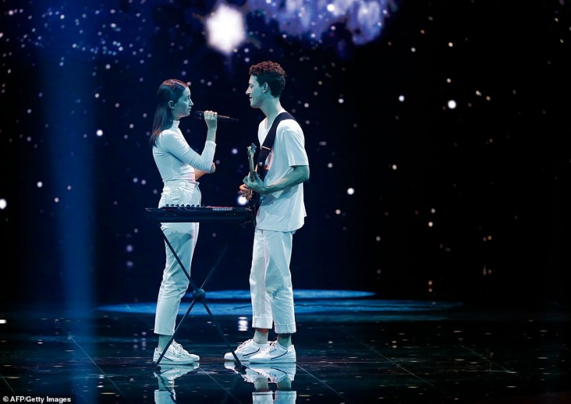 Slovenia's Zala Kralj and Gasper Santl perform the song 'Sebi' during the Grand Final of the 64th edition of the Eurovision Song Contest 2019 at Expo…