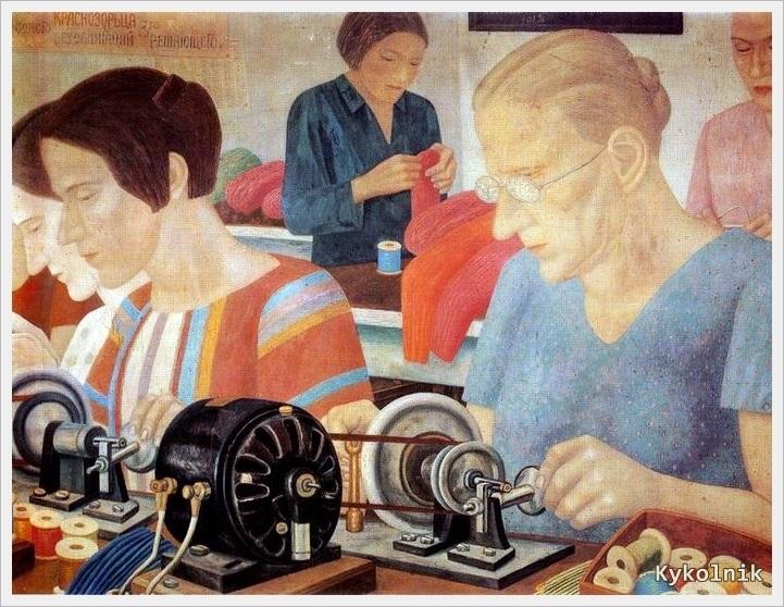 1931 Филонов Павел Николаевич (Россия, 1883-1941) «Ударницы на фабрике Красная Заря» 1931.jpg