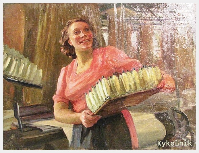 1940  Яновская Ольга Дмитриевна  (Россия, 1900-1998) «Текстильщица» 1940.jpg