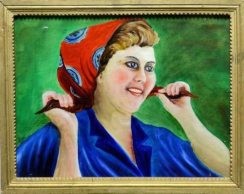 32   1980 Иван Уруев. Ивановская ткачиха. Наивная живопись. Масло. 1980г..jpg
