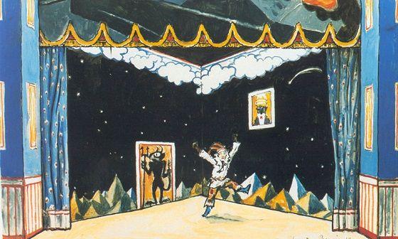 1917 А.Н.Бенуа «Эскизы для балета Стравинского «Петрушка» - Комната Петрушки. 2c.jpg