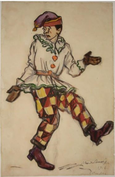 1917 Бенуа Александр Николаевич Эскиз мужского костюма. Петрушка. Петрушка (Премьера.JPG