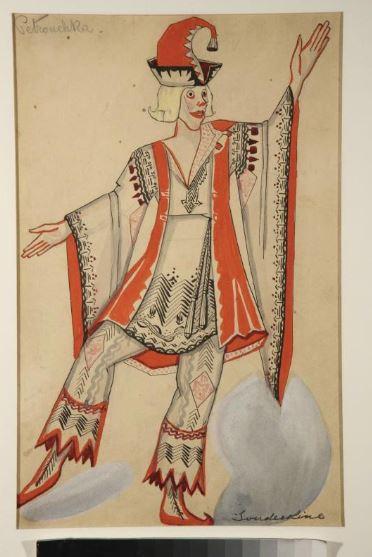 1925 Судейкин Сергей Юрьевич Эскиз костюма Петрушки к балету «.JPG