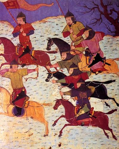 Монгольские конные лучники. Иллюстрация из Джами ат-таварих Рашид ад-Дина.jpg