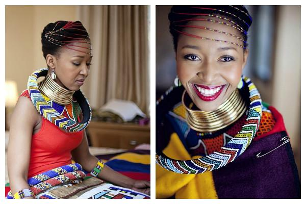 4 Easily the most distinct feature of the Ndebele bridal attire is called idzila, the rings around her neck that give her a regal look.P.jpg