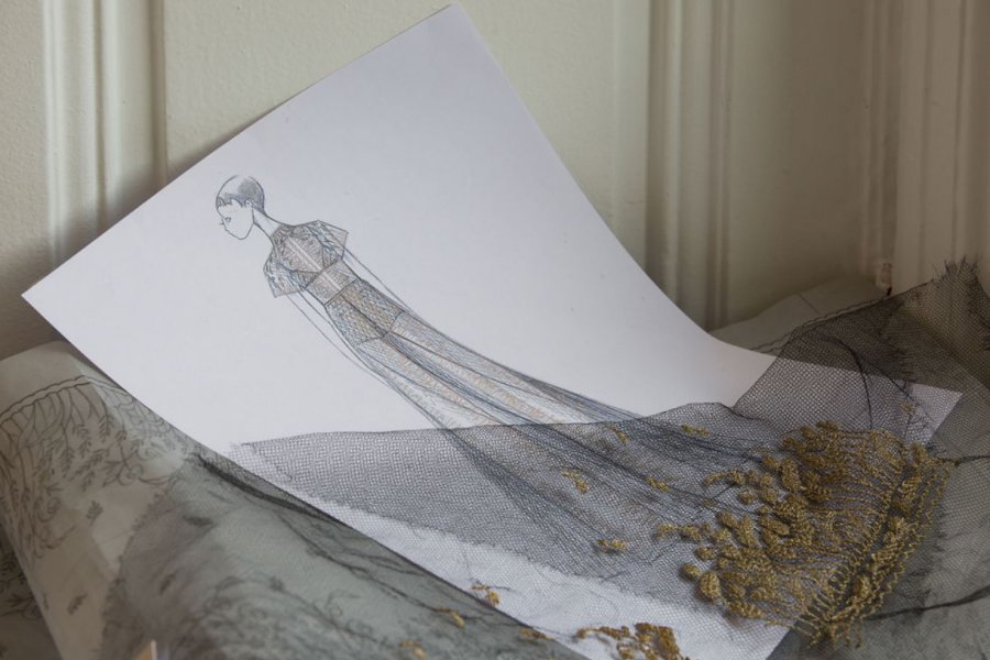 Зачем Диор наехал на Оскар, или новый вид войны A sketch of the gown by Maria Grazia Chiuri..PNG