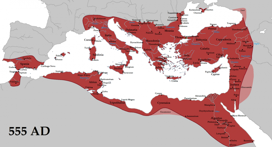555 The empire in 555 under Justinian the Great, at its greatest extent since the fall of the Western Roman Empire (its vassals in pink).png