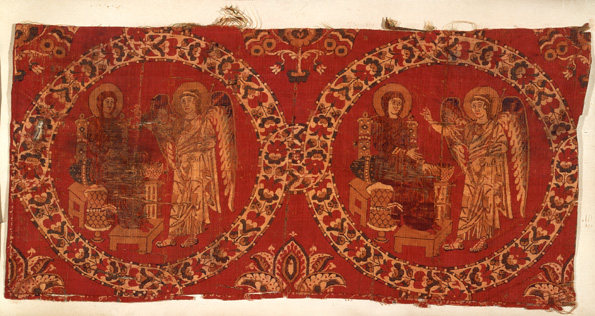 700-800 Annunciation, 8th–9th century. Made in Alexandria or Egypt, Syria, Constantinople Weft-faced compound twill - samit in polychrome silk. Vatic…