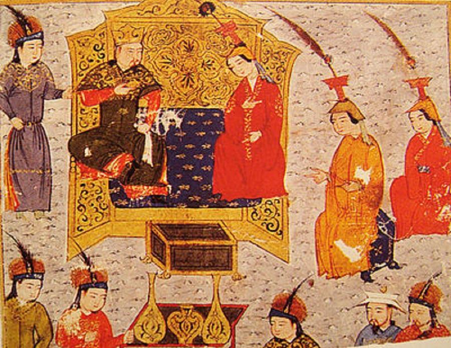 1   Толуй, сын Чингисхана, с женой Сорхахтани. Миниатюра из Джами ат-таварих, рукопись XIV века.jpg