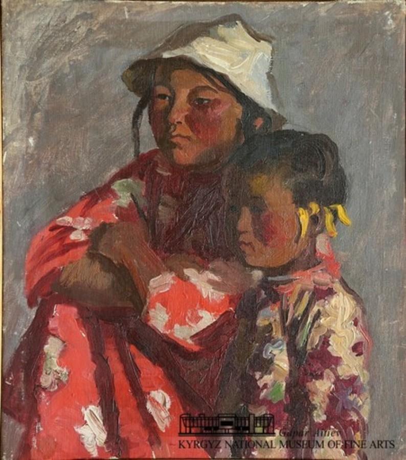 9 1937 Чуйков Семён Афанасьевич Киргизские девочки 1937 Киргизский Национальный музей изобразительных искусств имени Гапара Айтиева.JPG