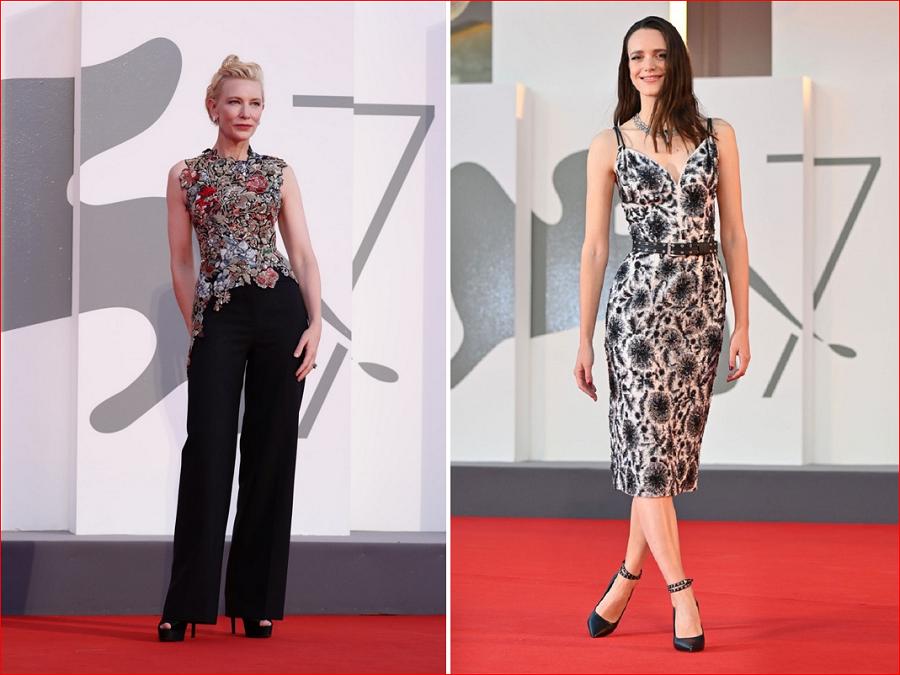 9 Cate Blanchett in Alexander McQuinn left Stacy Martin in Louis Vitton right.PNG