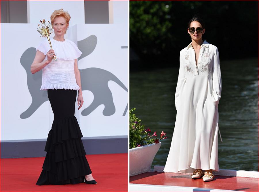 12 Tilda Swinton in Chanel  left Sara Serraiocco in Valentino right.PNG