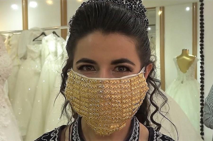 8 Turkish brides don $10,000 gold masks during COVID-19 pandemic.jpg