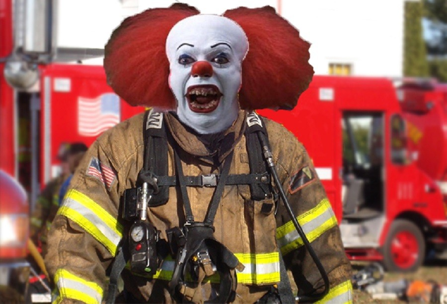 Firefighters Clowning Around with New Outreach Program 2014.jpg