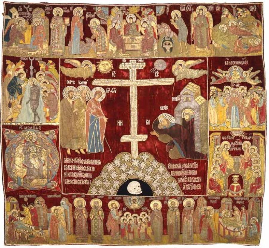 Явление Богоматери Сергию и праздники. Пелена. 1525 г. Бархат (древний фон утрачен), шелковые, золотые и серебряные нити, жемчуг, рубины; шитье. Вкла…