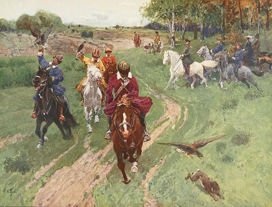 _Ф. Рубо «Охота башкир с соколами в присутствии императора Александра II». 1880-е г..jpg