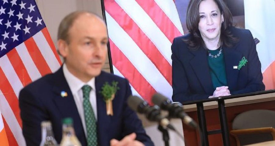 4  Taoiseach Micheál Martin speaking with US vice-president Kamala Harris via video link from Government Buildings in Dublin.jpg