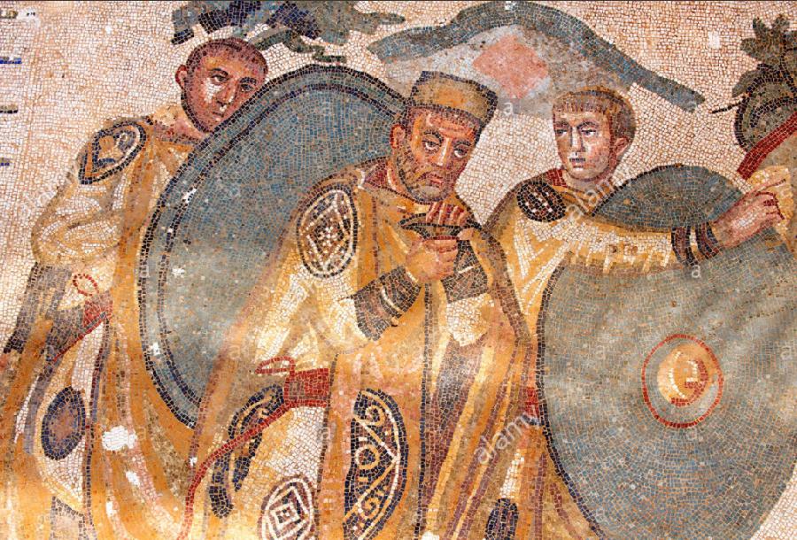 300 Римская мозаика, возможно, с изображением императора Максимиана 285 - 310 гг. на Вилле Романа или Эрикулии или Казале-дей-Сарачени, Моргантина, С…