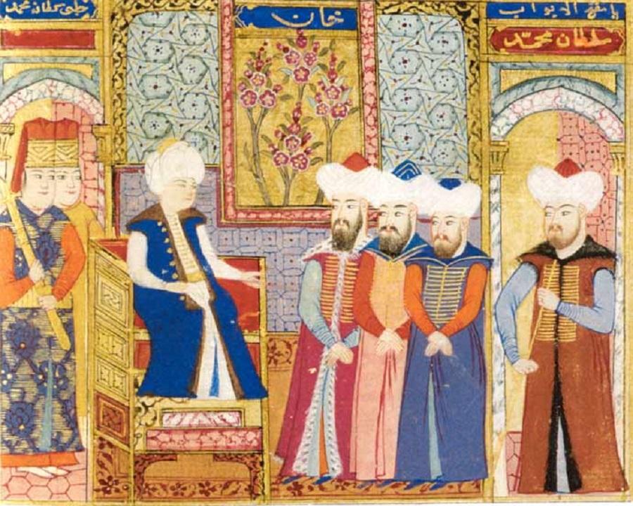 1400 Мехмед I 1413 –  1421 со своими сановниками. Османская миниатюра, хранящаяся в Стамбульском университете.jpg