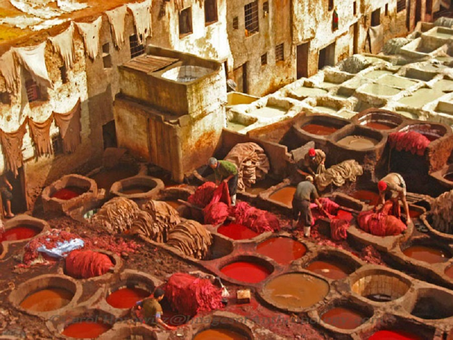 Red dyes in vats that have been around since the 1400s. Fez, Morocco..jpg