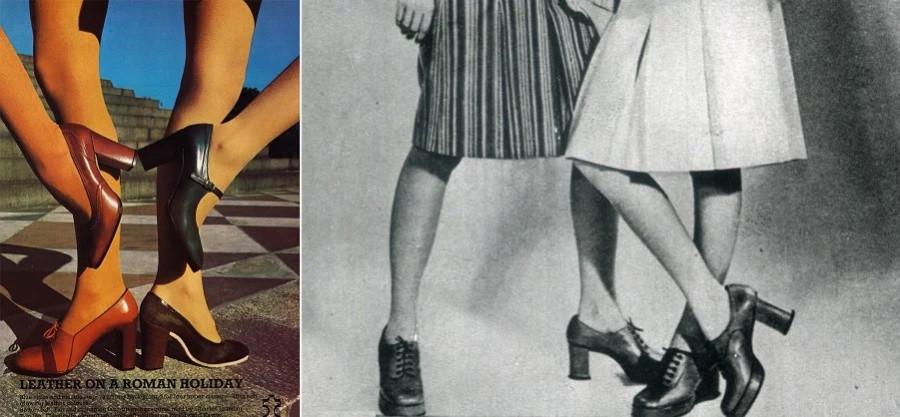 В 1978 году прозвучало Шузы носят с перепонкой на высоком каблуке. С перепонкой тут только одни, но каблук тот самый. 1977-1978. Справа - советский ж…