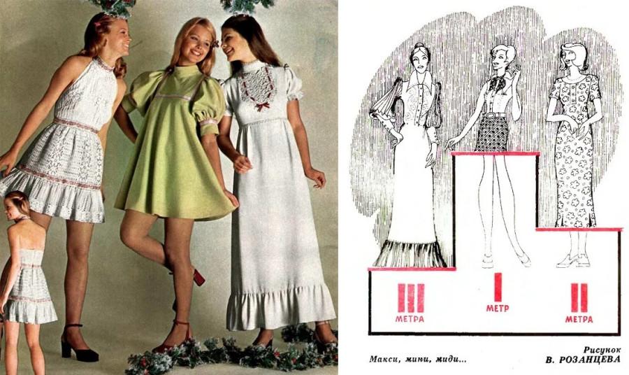Здесь показаны две юношеские длины - радикальное мини и - макси. Справа - карикатура на три модных длины 1970-х, причём макси тут в ретро-стиле.jpg