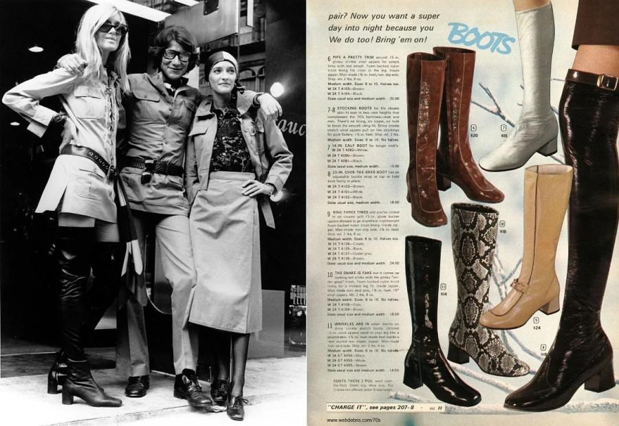 Сапоги выше колен - молодёжная мода начала 1970-х. Слева - Ив Сен-Лоран с моделями.jpg