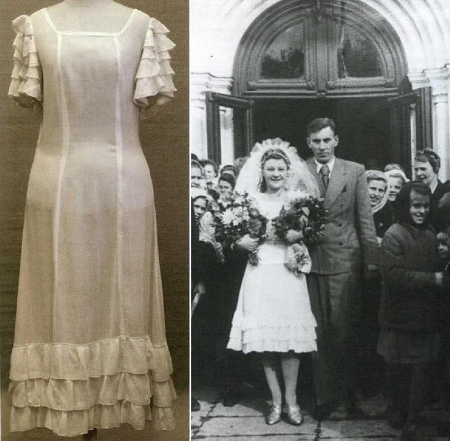4 Нарядное (возможно, именно подвенечное) платье, которое женщина-военнослужащая Вера Чернышова обменяла у немки на махорку, а потом вышла в нём заму…