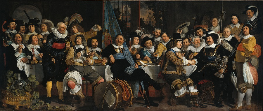 _Banquet of the Amsterdam Civic Guard in Celebration of the Peace of Münster, 1648, by Bartholomeus van der Helst,.jpg