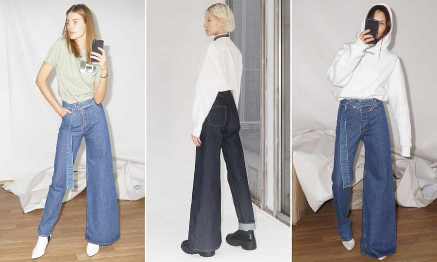 7  A cut above … Ksenia Schnaider's asymmetric skinny and wide jeans.jpg